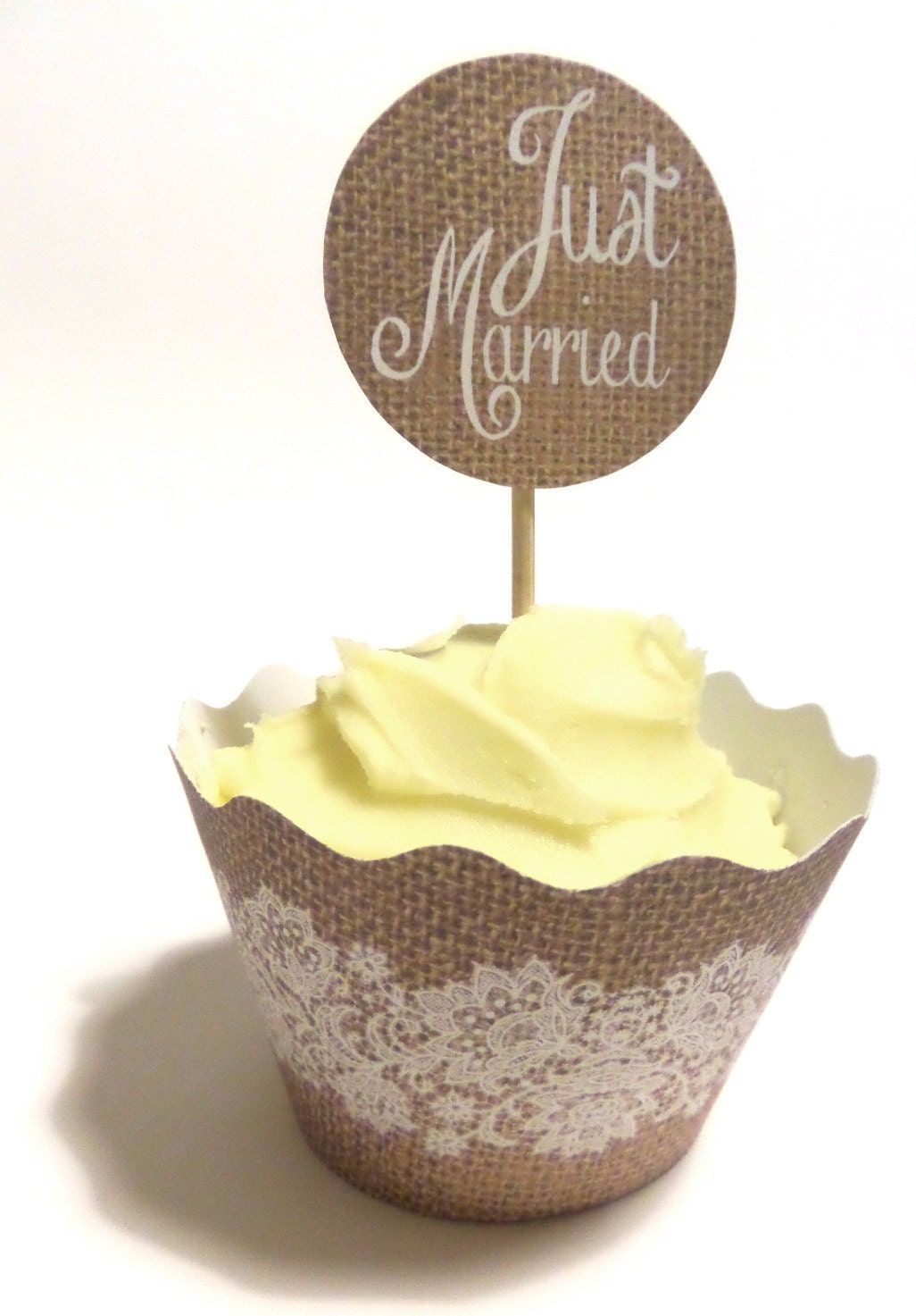 Rustic Wedding Burlap And Lace Cupcake Wrappers Amp By