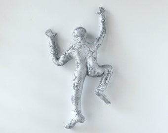 3d wall art, Climbing man sculpture, wire mesh, home decor, metal wall art, metal sculpture, rock climbing