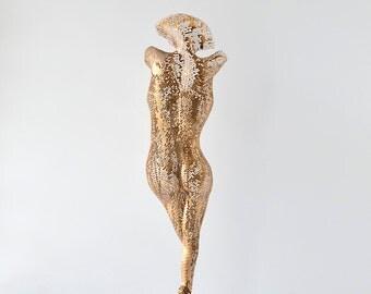 Nude woman torso sculpture, Metal wall art, metal art sculpture, Living room art, Interior design, Free standing sculpture