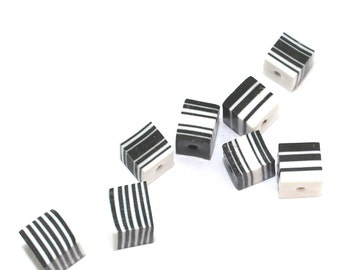 Black and white square beads, square layered polymer Clay beads, unique beads, stripes elegant beads, set of 8