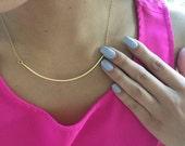 Curved gold bar necklace, modern bar necklace, gold bar necklace