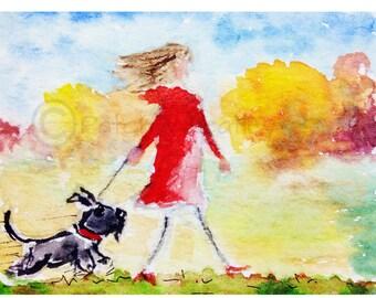 Walking Scottie Dog Art Print Scottish Terrier #55