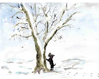 Scottie Dog 'Any Squirrels?'  Art Print 8X6 inch #142