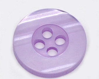 100 Round Plastic Buttons Four Hole 15mm Translucent Purple - 100 Pack PB16