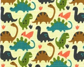 Flannel Old Friends by Michael Miller Fabrics Dinosaur Flannel Dino Flannel Tan Flannel Cotton Flannel Fabric