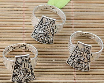 3pcs Tibetan silver plated house flag pattern ring findings EF2028