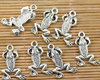 40pcs Tibetan silver little frog charms EF1826
