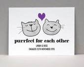 Purfect Cats Love Card or Print / Husband Gift Anniversary / CAT Couple Personalized Wall Art / Gift for Men / Home Decor / Love Art