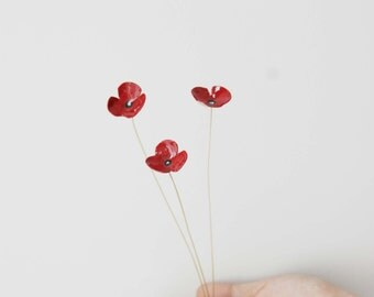 Red poppies metal sculpture, brass flowers art object with red enamel, three poppies gold red sculpture, flower decor, scarlet poppies art
