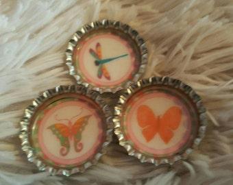 Butterflies and dragonfly bottlecap magnet