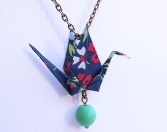 Origami bird necklace * MOYO * Jewelry . Crane . Paperbird . Paper . Washi . Bead . Blue . Flowers . Animal . Chain . Japan . Fold