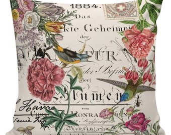 Spring Pillows, Botanical Pillows, Floral Decor, Spring Decor, Cushion Covers, Throw Pillows, Made in USA, Cotton, Burlap,   #SP0184