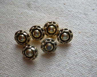 Vintage Buttons.   6 Small Gold  Metal 1960s Buttons.