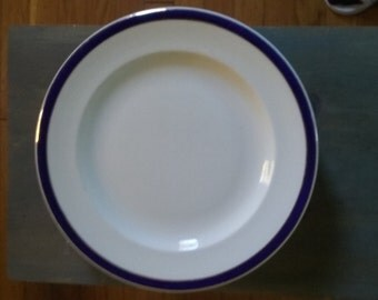 Blue/gold banded Ironstone dinner plates