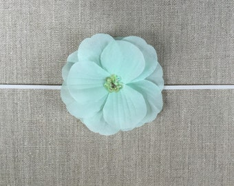 Mint silk flower headband