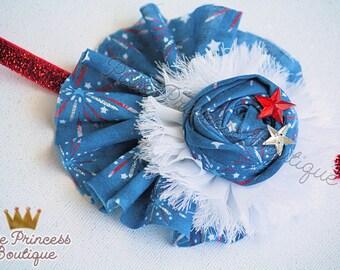 Firework Flair - Headband, Baby Headband, Couture Headband, Hair Clip, 4th of July Headbad, America Headband, Fourth of July