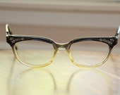 Reserved Rhinestone Black Combo Frame Cat Eyeglasses Vintage Bausch and Lomb 47/18 Free Priority Shipping