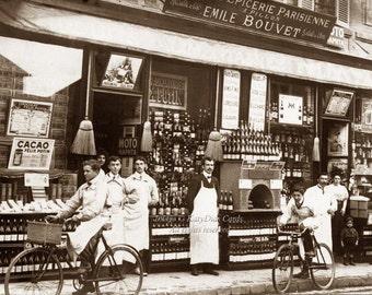 Paris Wine Shop Fabric Block | Turn of Century France Street Scene | Repro RPPC