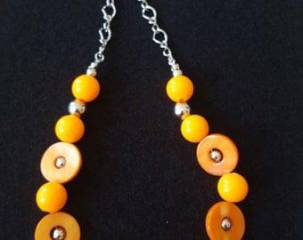 Orange n Silver Necklace Set