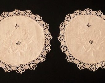 Pair of Embroidered Linen Doilies With Lace Edge