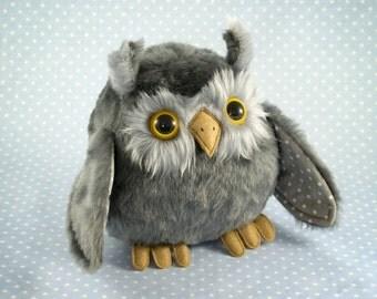 Grey Plush Owlet, handmade art toy