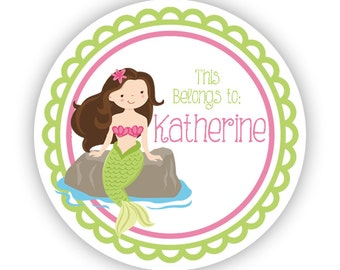 Personalized Name Tag Stickers - Lime Green and Pink Ocean Girl Mermaid Name Tag Stickers - This Belongs To Tag - Back to School Name Labels