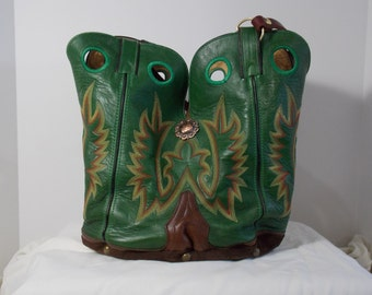 Emerald green boot purse