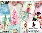 75% OFF SALE HAPPY Christmas Digital Collage Sheet set of 8 Digital tags Scrapbooking Digital collage instant download