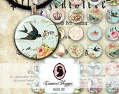 75% OFF SALE Digital Collage Sheet Circle SHABBY Memories 1 Inch Shabby roses Printable Bottlecaps Pendants Magnets