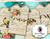 75% OFF SALE ENCHANTED Birds Digital Collage Sheets Digital Hang Tags Tiffany Vintage Birds Digital Download