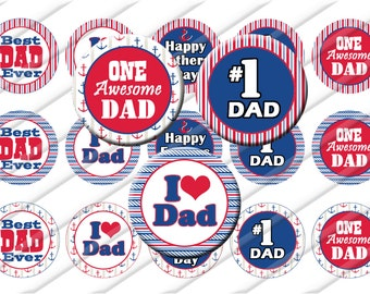 Fathers Day Dad Bottle Cap Images 1 inch circle image sheet Digital Collage INSTANT DOWNLOAD  Daddy  Dad