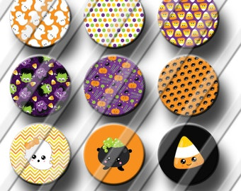 Fun Halloween Theme Flair button Flat Back Pinback Hallow Back 1 inch Hair Bow Embellishments Card Making Scrapbooking DIY Magnets