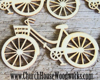 Wooden Bicycle pack of 5 Die Cut- Use for sewing, crafts, scrap booking, embellishments, gifts