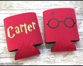 Personalized Harry Potter Can Cooler- Geekery Beer Coolie - Custom Coolie  - Harry Potter - Harry Potter Glasses  - 13 Colors Available!