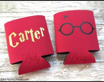 Personalized Harry Potter Can Cooler- Geekery Beer Coolie - Custom Can Holder  - Harry Potter - Harry Potter Glasses  - 13 Colors Available!