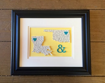 Unique Anniversary Gift, Wedding Gift, Paper Gift, 1st Anniversary Gift - Song Lyric Art - State Map Art - 8x10 Framed