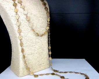 D'Orlan Long Coin Necklace or Belt Versatile Single Strand 61 Inches