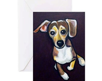 Brown Beagle Dog - 4 Greeting Cards By Artist A.V.Apostle