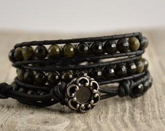 Black beaded bracelet. Rocker triple wrap leather bracelet
