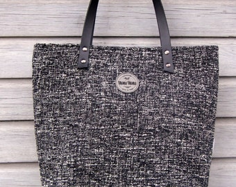 Sawana Coco Bag/Black and White Savana Bag/ Large Tote Bag/ Canvas Tote/ Tote Bag With Zipper Tape/ Fashion Bag/ Elegant Bag/ Business Bag