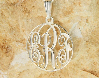 "Sterling Silver Circle Monogram Necklace 1.5"" with chain"