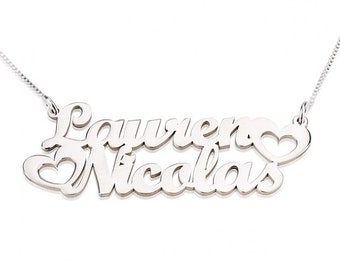Silver Sterling Two Names Necklace with Hearts