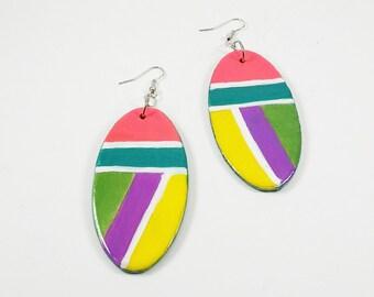 Retro Girls: Hand painted earrings