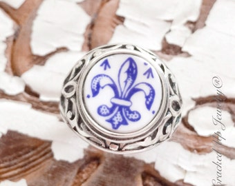 Broken China Jewelry. Broken China Ring, Spode China, Fleur De Lis,  Blue China,  925 Sterling Silver Ring Size 8