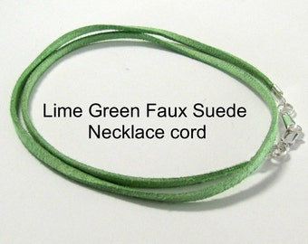 14 to 24 inch Lime Green Necklace Cord, Pendant Cord, Charm Cord, Silver Lobster Clasp, Faux Suede Cord, Jewelry Cord, Custom