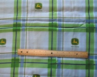 48 x 44 Inches Blue/Green John Deere Blocked Logo Cotton Fabric