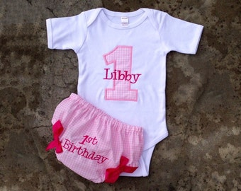 First birthday outfit girl, 1st birthday girl outfit, diaper cover set, first birthday bloomers, first birthday onesie, pink birthday theme