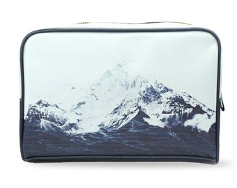 "Wash bag / Craft Bag / Travel bag - Made using Vegan leather. A limited edition, artist designed bag ""Waves Like Mountains"""