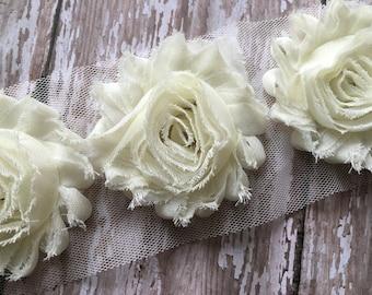 """Ivory Cream ** Shabby Flower Trim Chiffon Rosettes - ** Flowers by the yard- 1/2 yard or 1 Yard - Yd - Each flower measures 2.5"""""""