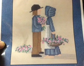 Cross Stitch Kit Beautiful Young Love Amish Style Kit New And Unopened